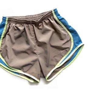 Nike Tempo Taupe & Neon Running Shorts • XS